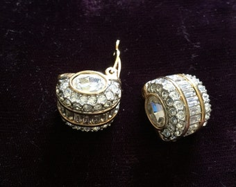 Genuine Stamped Swarovski Elegant Silver with Gold Accents Clip Earrings