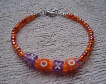 Bracelet, Beaded Letter Bracelet, XOXO bracelet, Purple and Orange Letter Beads, Orange Seed beads, Orange bracelet, hugs and kisses, XOXO
