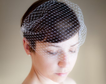 Bandeau Birdcage Wedding Veil (Swarovski Crystals, Bridal Veil, Russian Netting Veil, Small Veil, Bird Cage Veil, Mini Veil, Retro Veil)