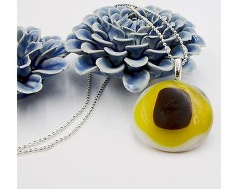 Handmade large kiln fused glass pendant