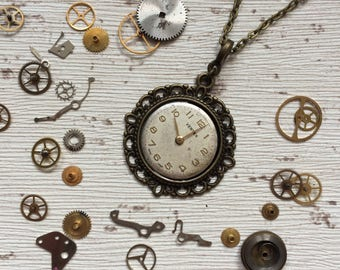 Steampunk necklace, vintage watch face, clockwork cameo, quirky jewellery, upcycled pendant, gift for her, Christmas gift, retro gift