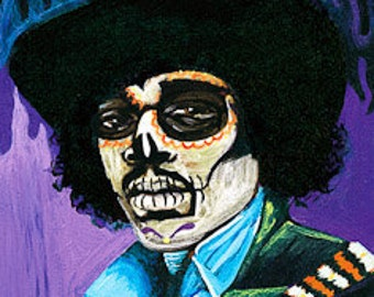 Jimi Hendrix day of the dead print