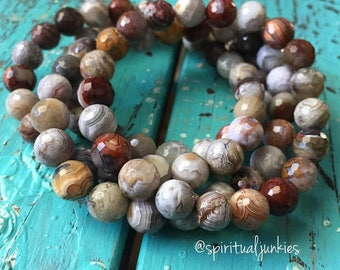 Stackable Mala Inspired Mexican Crazy Lace Agate Yoga and Meditation Bracelet (Single Bracelet)