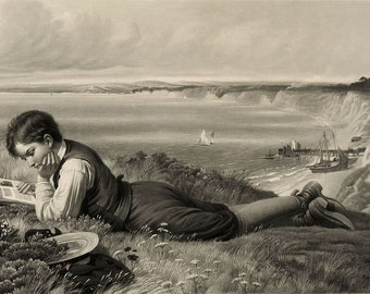 """Absorbed in """"Robinson Crusoe."""" Boy reads as ships dock by English coastal cliffs. Set of 6 new 5x7 b/w notecards of 19c vintage art."""