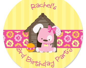 24 Pink Girl Puppy Circle Stickers - Personalized Baby Shower and Birthday Party DIY Craft Supplies