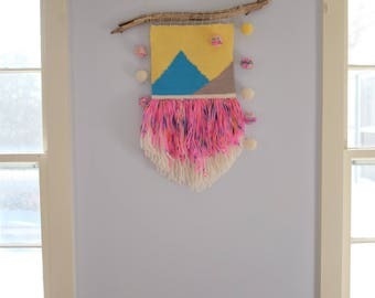 Woven Wall Hanging With Hand Painted Fringe and Pom Pom Garlands