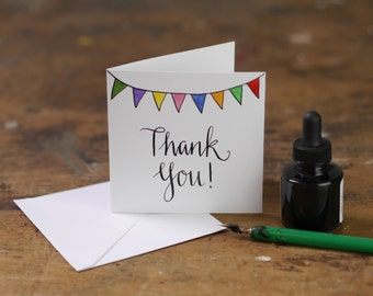 Hand Lettering Thank You bunting Greeting Card