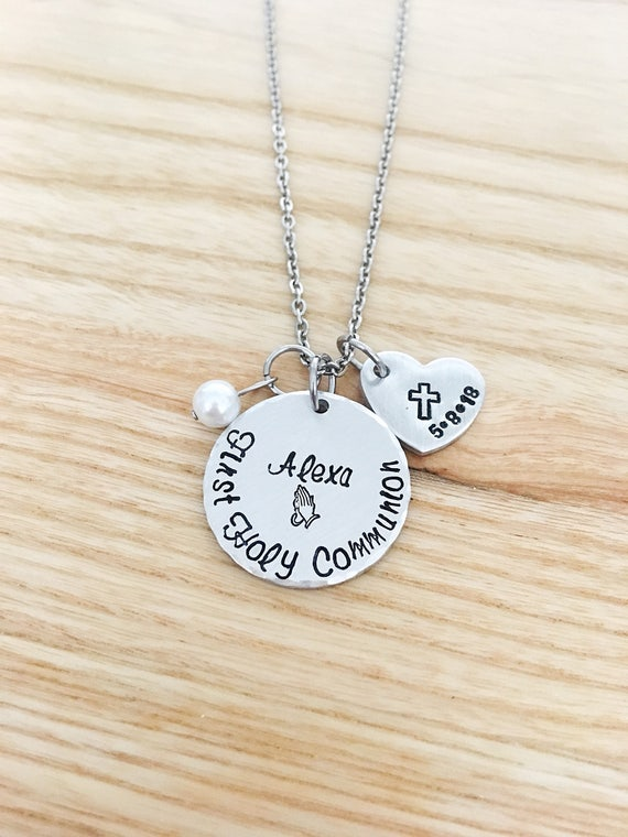 girls p first communion europe personalised cross and tag heart with necklace asp product message