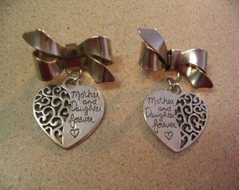 Mother and Daughter Forever Bow Brooch Pin Gift