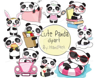 Cute PANDA ,Kawaii Panda clipart instant download PNG file - 300 dpi