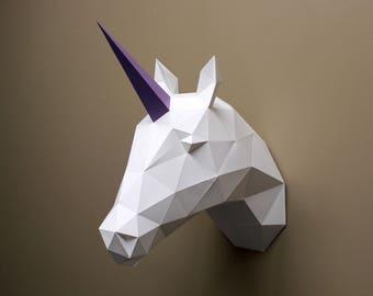 Vera the Unicorn - Papercraft, Unicorn, DIY Kit, Unicorn Head, Faux Taxidermy, Unicorn Decor, Wall Decor, Craft Kit, Low Poly, Paper Trophy