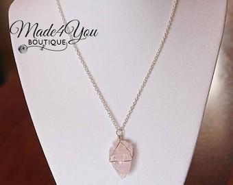 Arrowhead Necklace Rose Quartz Crystal Quartz Necklace Arrow Head Pendant Necklace Crystal Jewelry Arrowhead Jewelry Necklace Boho Minimal