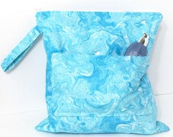 Large Wet Bag - Cloth Diaper Bag with pocket - Wet Bag Baby - Wet Bag Bikini - Wet Swimsuit Bag - Zippered Wet bag - Waterproof Wet Bag