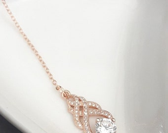 Bridal backdrop necklace crystal, CZ backdrop pendant, teardrop pendant, bridal jewelry,  backdrop bridal necklace, back drop bridal