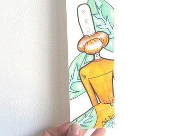 Marque-pages, Bigoudene, lectrice, papier aquarelle, papeterie fantaisie, cadeau livre, feuille, bretagne, fête des mères, signet, page