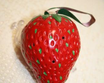 Large strawberry pomander; paper velvet ribbon; original cork; bisque-style ceramic; B-15