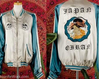 Vintage SOUVENIR Silk Jacket Japan Oiran GEISHA Hand Embroidered Skull Jacket RARE Japenese Tourist Bomber Jacket Reversible Sukajan