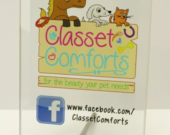 Custom Crafters Display Plaque / Jade Glass Display for Craft Shows / Markets / Tables