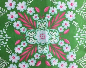 Jennifer Paganelli OOP Ann Flower Mural Pretty Please JP12  Green Pink Floral