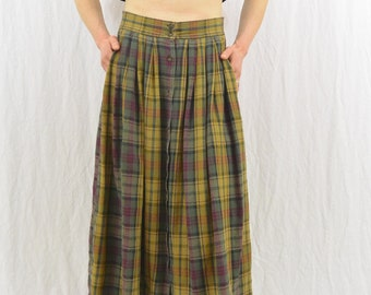 Vintage Flannel Midi Skirt, Size XS-Small, Grunge, 90's Clothing, Tumblr Clothing, Mori Girl, Skirt with Pockets