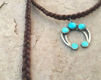 Braided leather chocker with turquoise