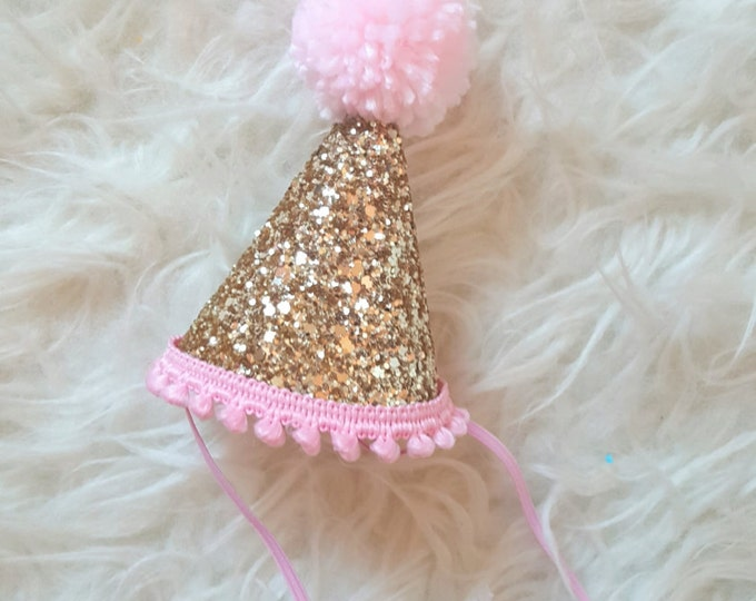 Glittery Mini Party Hat || Gold and Pink || Cake Smash Photo Prop || First Birthday