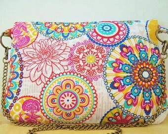 Rainbow bag, Rainbow clutch,chain clutch, canvas bag, Rainbow handbag, mandala tote, Mandala clutch,Mandala bag, kawaii bag, canvas clutch