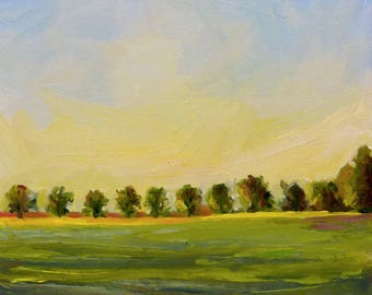 Sunset and Field Original Landscape Oil Painting on Canvas