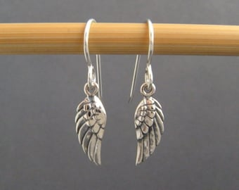 tiny silver angel wing earrings simple everyday jewelry small sterling silver dangle angelic sweet modern drop leverback lever back gift