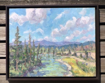 North Fork Sun River a framed 16x20 original oil painting by Ben Haggett, ready to hang and enjoy.  Oil on cradled wood panel.
