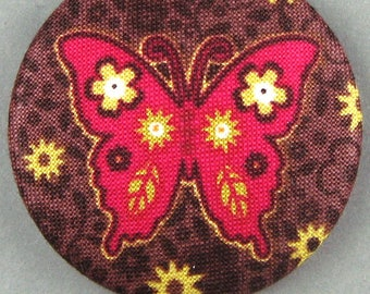 Fabric covered button - Butterfly - Bordeaux - diameter 40 mm - 40-