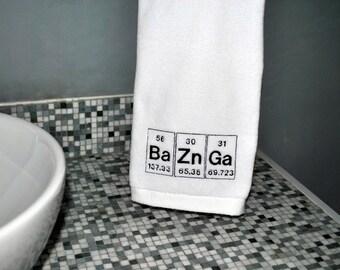 Bazinga Embroidered White Hand Towel-  Periodic Table