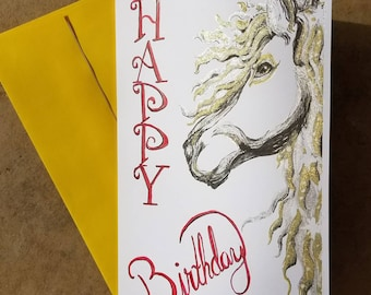 BIRTHDAY CARD HORSE Glitter Shiny Gold Watercolor Hand Painted Pony Girl 5x8 Equestrian Free Shipping in U.S.A.
