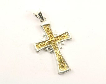 Vintage Religious Two Tone Scroll Cross Pendant 925 Sterling Silver PD 1733