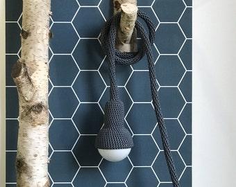 Lampe, garden pendant, crocheted in dark grey, 6 meter cord