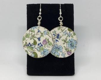 Cute Danty Blue and Purple Floral Wood Earrings