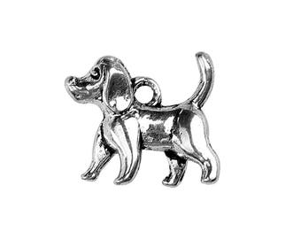 10 Silver DOG Charms, Beagle Charms, 15x14mm, chs3466a