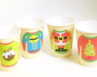 Ugly Christmas Sweater Cups, Christmas Party Cups, Office Party Cups, Christmas Coffee Cups, Christmas Paper Cups, Ugly Sweater Party