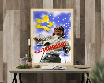 Vintage Travel Poster - Mont Tremblant - (High Quality Art Print - Multiple Size Options Available) TP 16