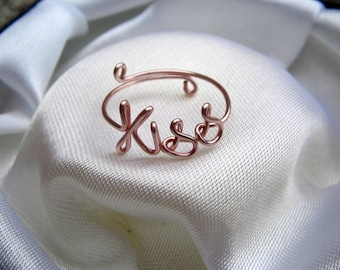 Rose gold Wire Kiss Ring Adjustable Dainty Ring