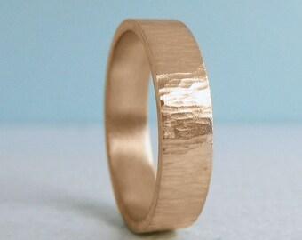 5mm Rose Gold Wedding Band | Rustic Tree Bark Texture | 10k 14k 18k Rose Gold | Men's Women's Recycled Gold Wedding Ring