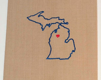 Michigan State Tea Towel   Personalized Kitchen Towel   Embroidered Towel   Embroidered Tea Towel   Michigan Gifts   Kitchen Towel
