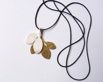 PENDANT necklace sterling silver gold plated contemporary jewelry nature leaf texture contrast romantic organic - Flora Collection