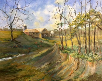 Oil painting, State Road 160, Indiana painting, Midwestern painting