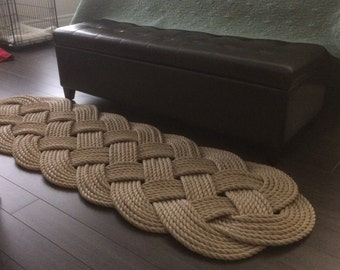 "Pro Manila Rope Rug - Nautical Decor - Rope Mat - Tan Rope Rug - Rope Knots -  (70"" x 23"")"