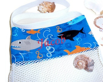 Personalized Shark Beach Bag, Kids Sea Shell Collecting Bag, Mesh Beach Tote, Beachcomber Bag, Beach or Pool Mesh Toy Bag, Embroidered Name