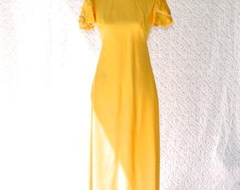 1960s Emma Domb Dress | Yellow Party Dress. 1960s Formal Gown. 60s Maxi Dress. Yellow Bridesmaid Dress. Hippie Prom Dress. Mod Dress | small