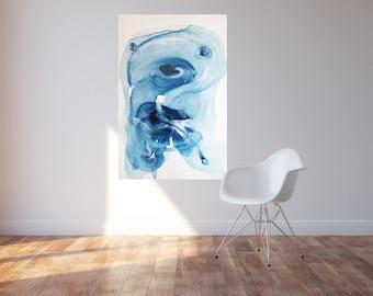 Large blue abstract painting, Wave By Julie Tillman. modern art. large original art. home decor blue. wall art. home staging art. beach art