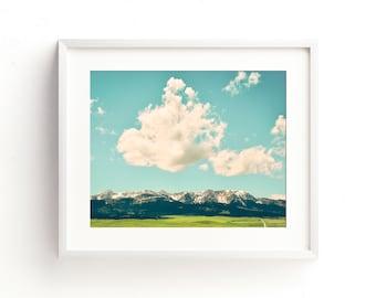 "landscape wall art, landscape photography, large art, large wall art, colorful landscape wall art, mountains, clouds - ""Wild Blue Yonder"""