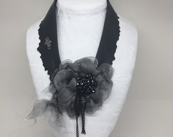 Recycled black leather necklace